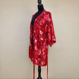 8b286f49e Vintage Intimates & Sleepwear - Vintage Inner Most Red Cherry Blossom  Kimono Robe